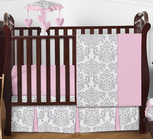 Pink, Gray and White Elizabeth Baby Bedding - 4pc Girls Crib Set by Sweet Jojo Designs - Click to enlarge