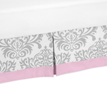 Pink, Gray and White Elizabeth Bed Skirt for Toddler Bedding Sets by Sweet Jojo Designs