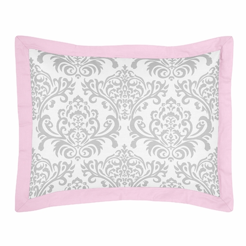 Pink, Gray and White Elizabeth Pillow Sham by Sweet Jojo Designs - Click to enlarge