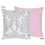 Pink, Gray and White Elizabeth Decorative Accent Throw Pillow by Sweet Jojo Designs