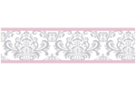 Pink, Gray and White Elizabeth Kids and Baby Modern Wall Paper Border by Sweet Jojo Designs