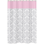 Pink, Gray and White Elizabeth Kids Bathroom Fabric Bath Shower Curtain by Sweet Jojo Designs