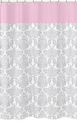Pink, Gray and White Elizabeth Kids Bathroom Fabric Bath Shower Curtain by Sweet Jojo Designs - Click to enlarge