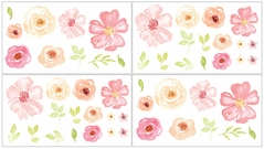 Blush Pink, Green and White Wall Decal Stickers for Black Watercolor Floral Collection by Sweet Jojo Designs - Set of 4 Sheets - Rose Flower