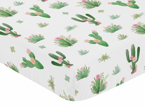 Pink Green Boho Watercolor Baby or Toddler Fitted Crib Sheet for Cactus Floral Collection by Sweet Jojo Designs - Click to enlarge