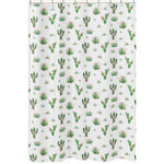 Pink Green Boho Watercolor Bathroom Fabric Bath Shower Curtain for Cactus Floral Collection by Sweet Jojo Designs