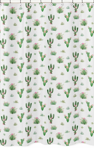 Pink Green Boho Watercolor Bathroom Fabric Bath Shower Curtain For Cactus Floral Collection By Sweet Jojo