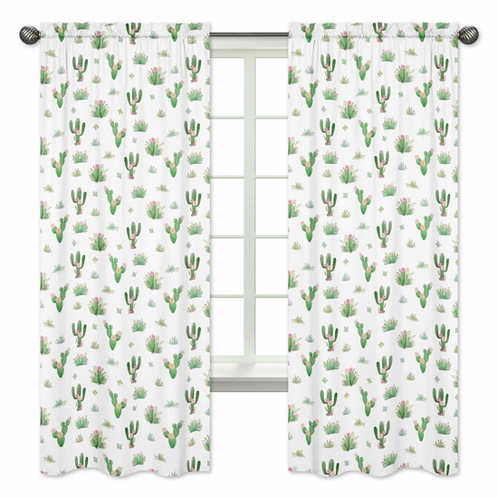 Pink Green Boho Watercolor Window Treatment Panels Curtains For Cactus Floral Collection By Sweet Jojo Designs