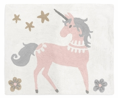 Pink, Grey and Gold Accent Floor Rug or Bath Mat for Unicorn Collection by Sweet Jojo Designs