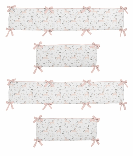 Pink, Grey and Gold Baby Crib Bumper Pad for Unicorn Collection by Sweet Jojo Designs - Click to enlarge
