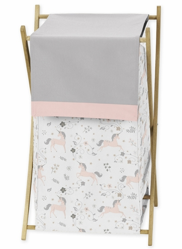 Pink, Grey and Gold Baby Kid Clothes Laundry Hamper for Unicorn Collection by Sweet Jojo Designs - Click to enlarge