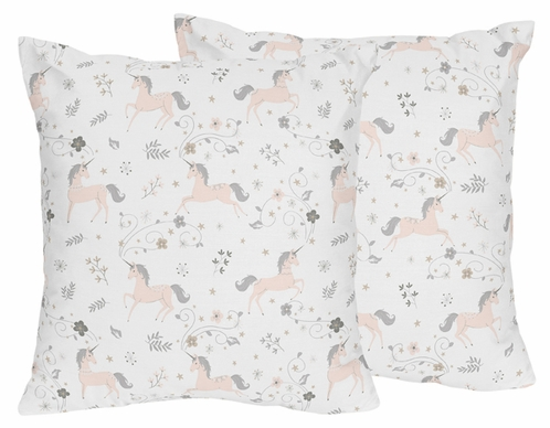 Pink, Grey and Gold Decorative Accent Throw Pillows for Unicorn Collection by Sweet Jojo Designs - Set of 2 - Click to enlarge