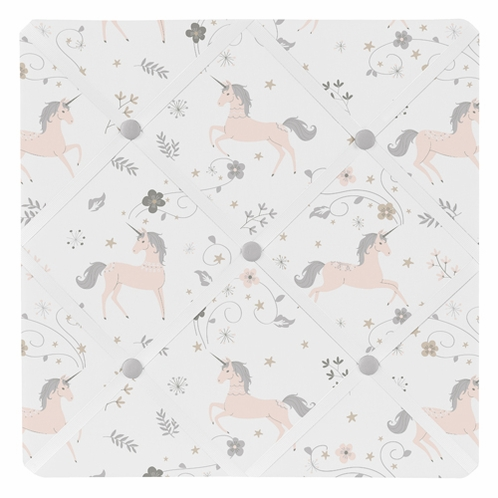 Pink, Grey and Gold Fabric Memory Memo Photo Bulletin Board for Unicorn Collection by Sweet Jojo Designs - Click to enlarge