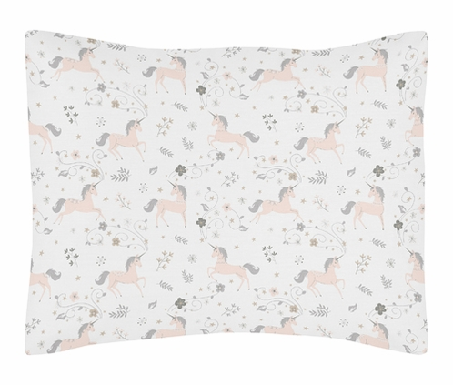 Pink, Grey and Gold Standard Pillow Sham for Unicorn Collection by Sweet Jojo Designs - Click to enlarge