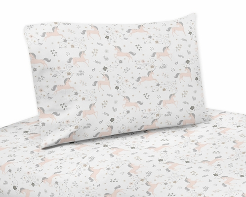 Pink, Grey and Gold Twin Sheet Set for Unicorn Collection by Sweet Jojo Designs - 3 piece set - Click to enlarge