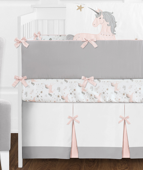 9 Pc Pink Grey And Gold Unicorn Baby Girl Crib Bedding Set With