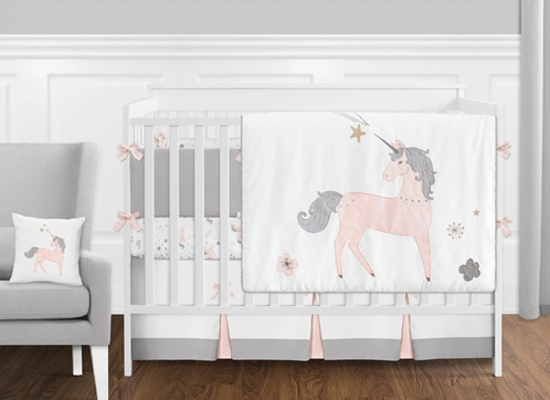Pink Grey And Gold Unicorn Baby Crib Bedding Set With Per