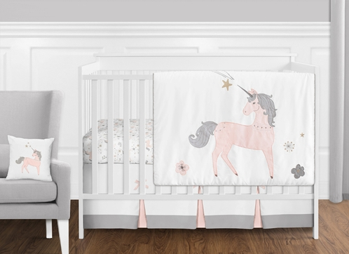 11 pc. Pink, Grey and Gold Unicorn Baby Girl Crib Bedding Set without Bumper by Sweet Jojo Designs - Click to enlarge
