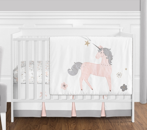 4 Pc Pink Grey And Gold Unicorn Baby Girl Crib Bedding Set Without