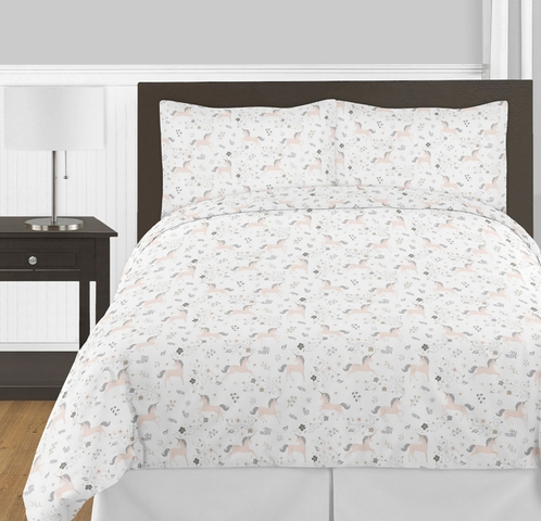 Pink, Grey and Gold Unicorn Girl Full / Queen Kid Childrens Bedding Comforter Set by Sweet Jojo Designs - 3 pieces - Click to enlarge