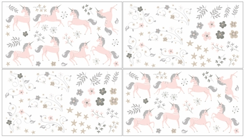 Pink, Grey and Gold Peel and Stick Wall Decal Stickers Art Nursery Decor for Unicorn Collection by Sweet Jojo Designs - set of 4 sheets - Click to enlarge