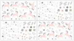 Pink, Grey and Gold Wall Decal Stickers for Unicorn Collection by Sweet Jojo Designs - set of 4 sheets
