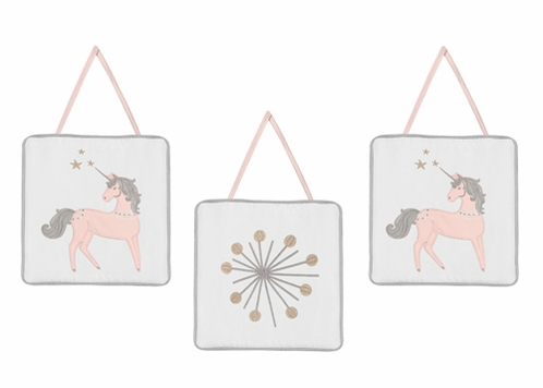 Pink, Grey and Gold Wall Hanging Decor for Unicorn Collection by Sweet Jojo Designs - Set of 3 - Click to enlarge