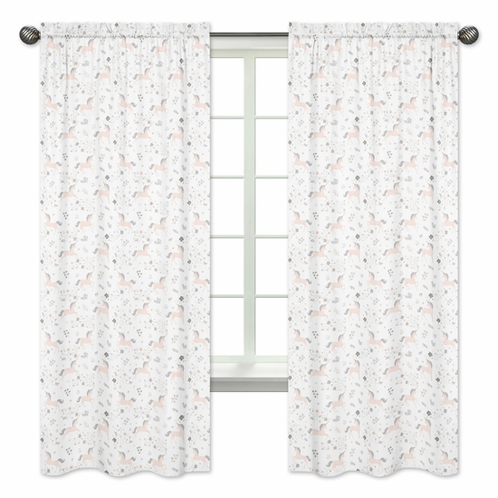 Pink, Grey and Gold Window Treatment Panels Curtains for Unicorn Collection by Sweet Jojo Designs - Set of 2 - Click to enlarge