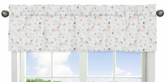 Pink, Grey and Gold Window Treatment Valance for Unicorn Collection by Sweet Jojo Designs