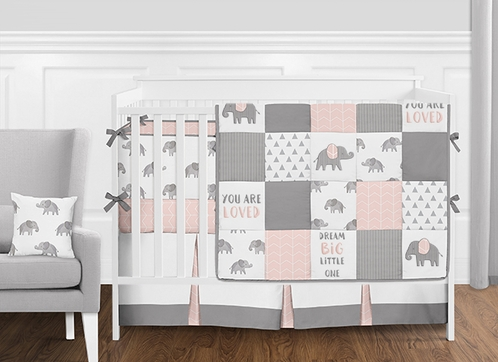 Pink, Grey and White Patchwork Gray Elephant Baby Girl Crib Bedding Set with Bumper by Sweet Jojo Designs - 9 pieces - Click to enlarge