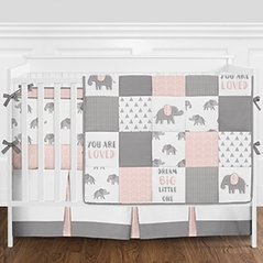 Pink, Grey and White Patchwork Gray Elephant Baby Girl Crib Bedding Set with Bumper by Sweet Jojo Designs - 9 pieces
