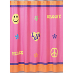 Pink Groovy Peace Sign Kids Bathroom Fabric Bath Shower Curtain