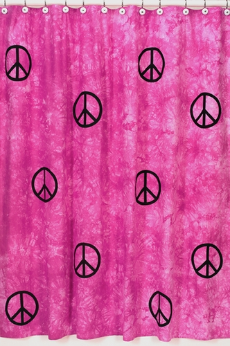 Pink Groovy Peace Sign Tie Dye Kids Bathroom Fabric Bath Shower Curtain - Click to enlarge