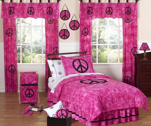 Etonnant Tie Dye Pink Groovy Peace Sign Bedding For Children   4 Pc Twin Set   Click
