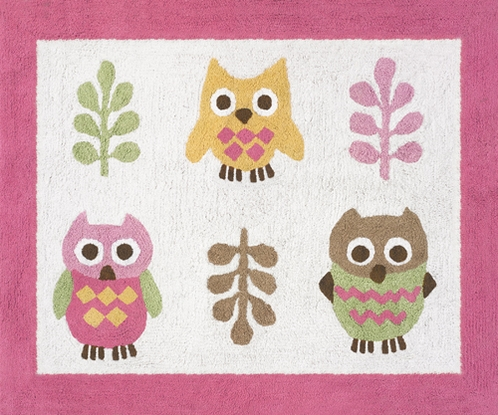 Pink Happy Owl Accent Floor Rug - Click to enlarge