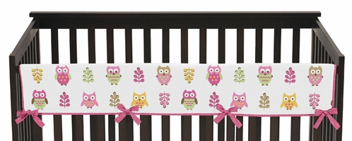 Pink Happy Owl Baby Crib Long Rail Guard Cover by Sweet Jojo Designs - Click to enlarge