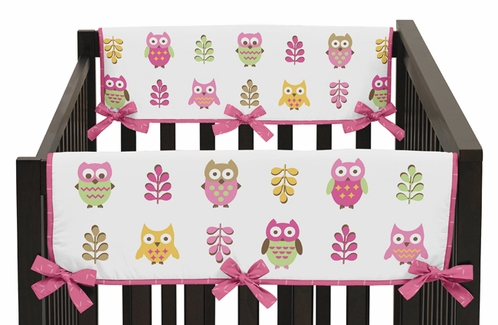 Pink Happy Owl Baby Crib Side Rail Guard Covers by Sweet Jojo Designs - Set of 2 - Click to enlarge