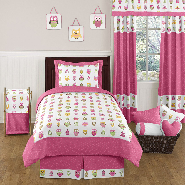 Pink Happy Owl Childrens Bedding   4 Pc Twin Set By Sweet Jojo Designs Only  $119.99