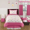 Pink Happy Owl Childrens Bedding - 4 pc Twin Set by Sweet Jojo Designs