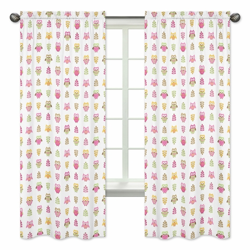 Pink Happy Owl Collection Window Treatment Panels by Sweet Jojo Designs - Set of 2 - Click to enlarge