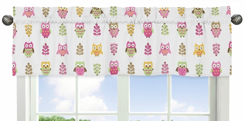 Pink Happy Owl Collection Window Valance by Sweet Jojo Designs - Click to enlarge