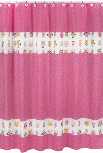 Pink Happy Owl Kids Bathroom Fabric Bath Shower Curtain by Sweet Jojo Designs - Click to enlarge