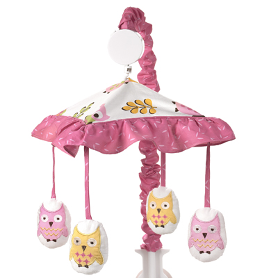 Pink Happy Owl Musical Baby Crib Mobile by Sweet Jojo Designs - Click to enlarge