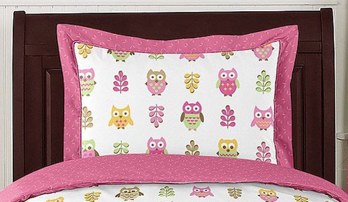 Pink Happy Owl Pillow Sham by Sweet Jojo Designs - Click to enlarge