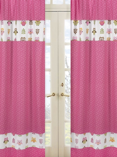 Pink Happy Owl Window Treatment Panels by Sweet Jojo Designs - Set of 2 - Click to enlarge