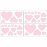 Pink Hearts Peel and Stick Wall Decal Stickers Art Nursery Decor for Chenille Bedding by Sweet Jojo Designs - Set of 4 Sheets