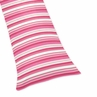 Pink, Lime and White Stripe Full Length Double Zippered Body Pillow Case Cover for Sweet Jojo Designs Olivia Sets