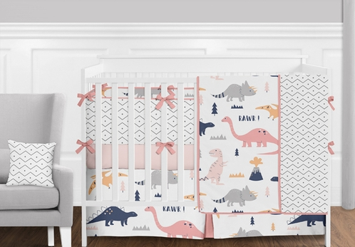 Pink, Orange, Coral and Grey Modern Mod Dinosaur Baby Girls Crib Bedding Set with Bumper - 9 Pieces - Click to enlarge