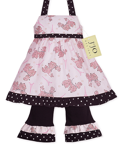 Pink Paris Poodle & Polka Dot Boutique Baby Girls 2pc Outfit or Dress - Click to enlarge