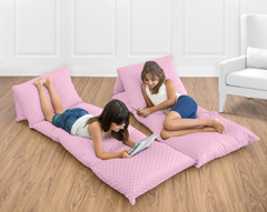 Pink Polka Dot Kids Teen Floor Pillow Case Lounger Cushion Cover for Skylar Collection